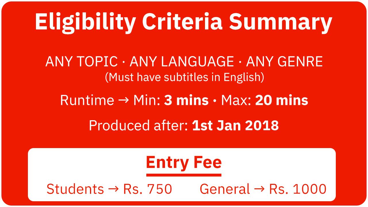 Filmingo 2019 Eligibility Criteria